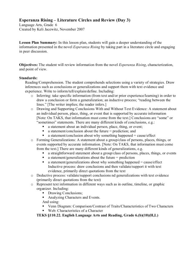 esperanza rising literature circles and review day th th  esperanza rising literature circles and review day 3 6th 7th grade lesson plan lesson planet