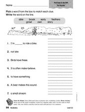 Vocabulary: Paul Goes to the Ball Worksheet