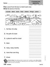Vocabulary: A True Boating Family Worksheet