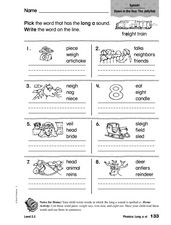 Phonics: Long a: ie Worksheet