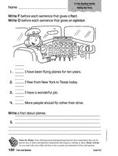 Fact and Opinion: A True Boating Family Worksheet
