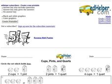 Cups, Pints, and Quarts 3 Worksheet