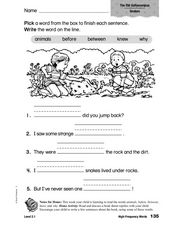 High Frequency Words: The Old Gollywampus Worksheet