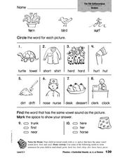 Phonics: r-Controlled Vowels er, ir, ur Review Worksheet
