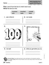 Vocabulary: Wobbly People/Block House Worksheet