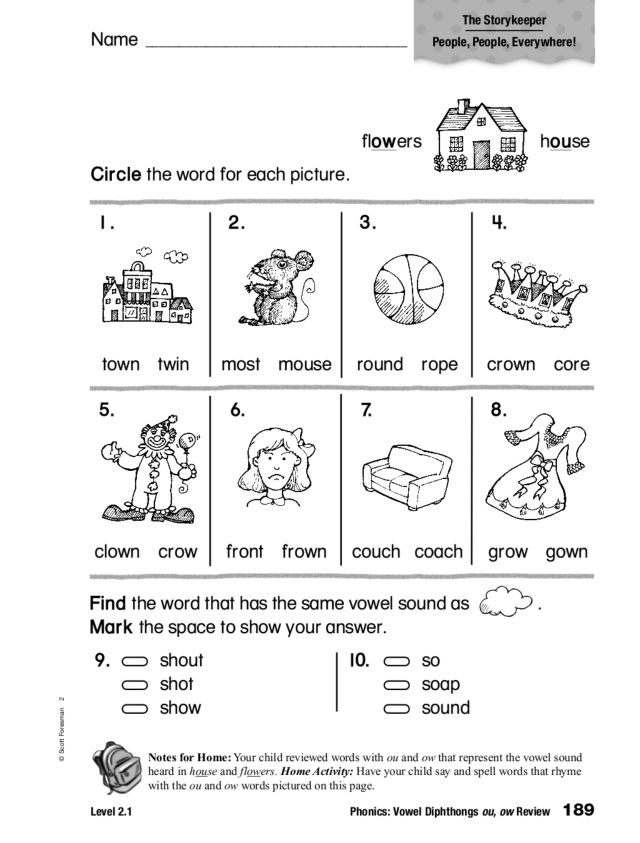 Phonics Vowel Diphthongs Ou Ow Review Worksheet For 1st
