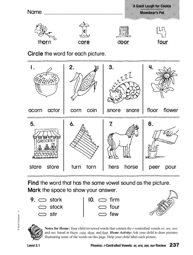 Phonics: r-Controlled Vowels: or ore oor our Worksheet for 2nd - 3rd Grade | Lesson Planet
