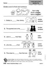 Phonics: Comparative Endings: er, est Worksheet