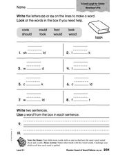 Phonics: Sound of Vowel Patterns oo, ou Worksheet