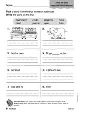 Vocabulary: Franny and Ginny Worksheet