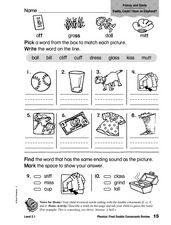 Phonics: Final Double Consonants Review Worksheet