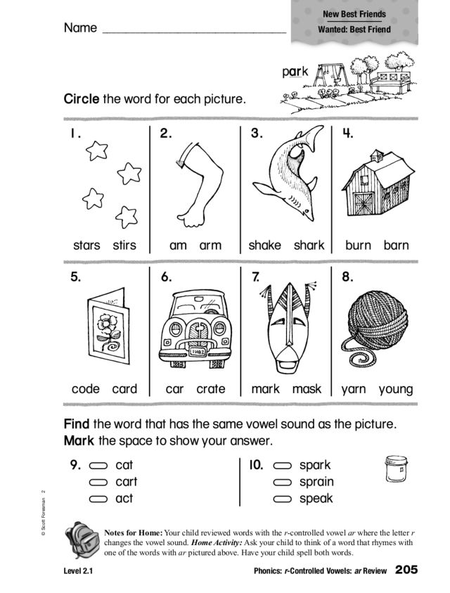 Phonics: r-Controlled Vowels Review 1st - 2nd Grade Worksheet ...