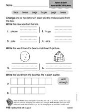 Spelling: Words with ge, ce, se Worksheet
