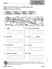 Vocabulary: Tex and the Big, Bad T-Rex Worksheet