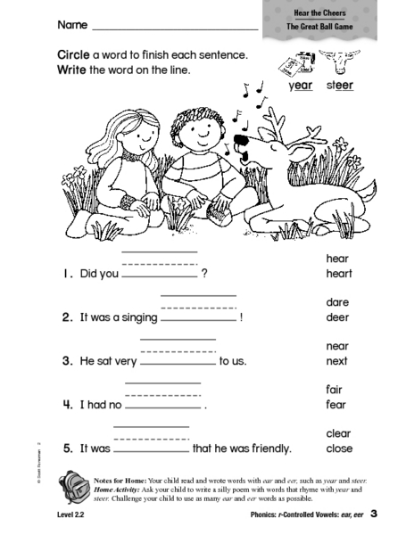 Phonics: r-Controlled Vowels: e ear eer Worksheet for 1st - 2nd Grade | Lesson Planet