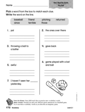 Vocabulary: How I Beat the Giants Worksheet