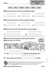 Spelling: r-Controlled Vowels: ear, our Worksheet