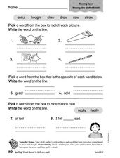 Spelling: Vowel Sound in Ball: aw, ough Worksheet