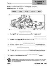 High Frequency Words: Two Lunches at the Mill Worksheet