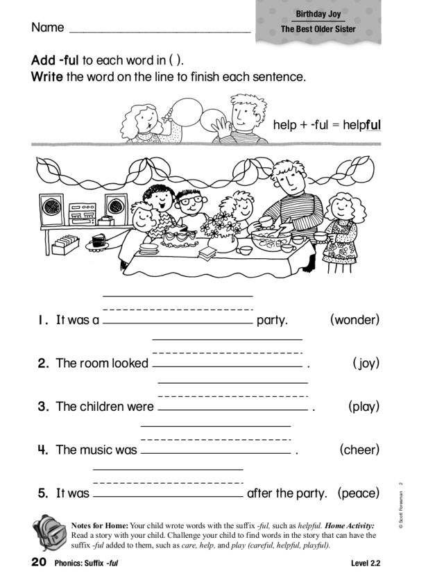 Phonics Suffix Ful Worksheet For 1st 2nd Grade