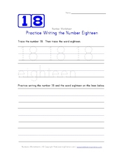Practice Writing the Number 18 Worksheet