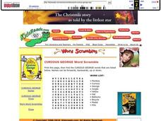 Curious George Word Scramble Lesson Plan