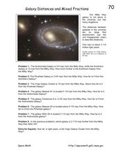Galaxy Distances and Mixed Fractions Worksheet