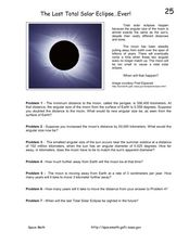 The Last Total Solar Eclipse...Ever! Worksheet