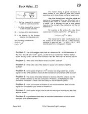 Black Holes....II Worksheet