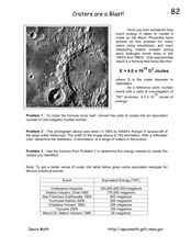 Craters are a Blast! Worksheet