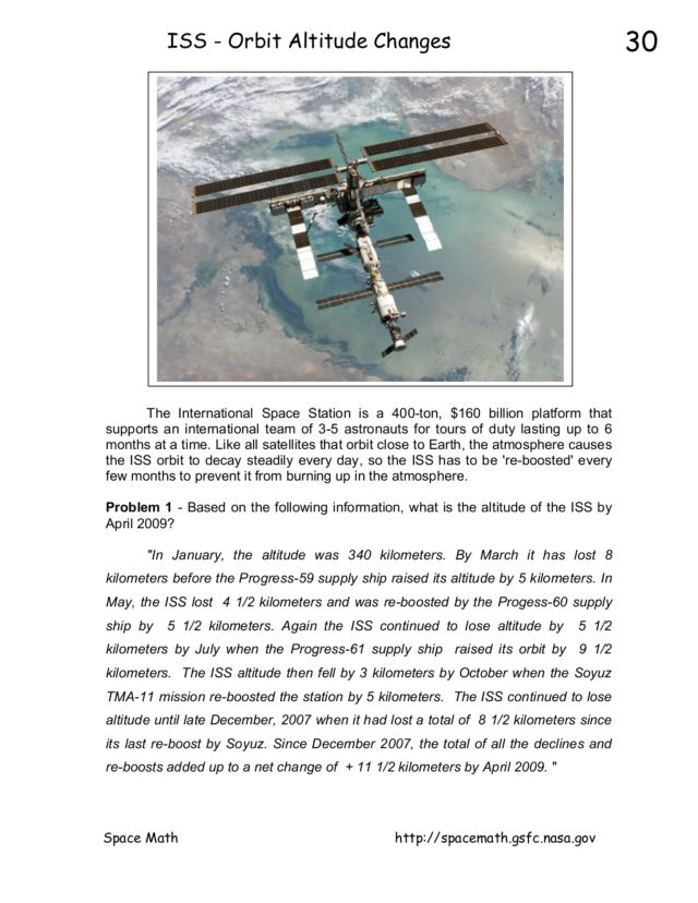 ISS-Orbit Altitude Changes 10th - 12th Grade Worksheet | Lesson Planet