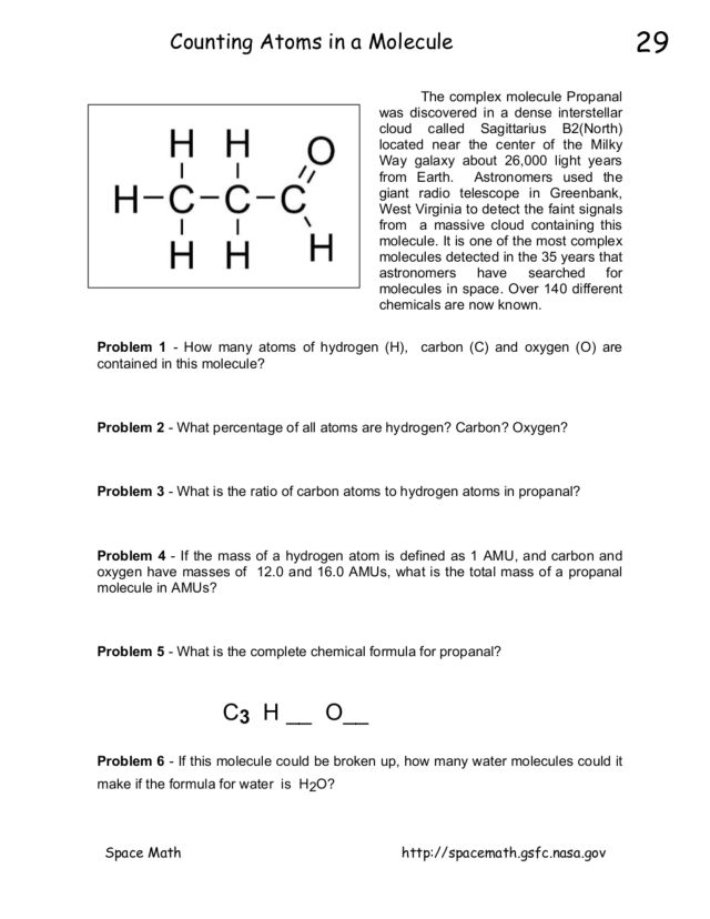 Counting Atoms in a Molecule 8th 10th Grade Worksheet – Atoms and Molecules Worksheet