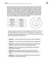 Models of Planets Worksheet