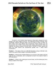 SDO Reveals Details on the Surface of the Sun Worksheet