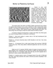 Water on Planetary Surfaces Worksheet