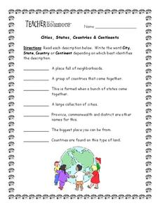 Cities, States, Countries & Continents Worksheet