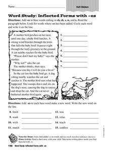 Word Study: Inflected Forms with es Worksheet