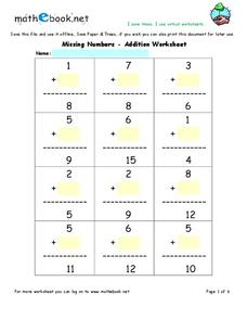 Missing Numbers - Addition Worksheet Set Interactive