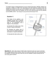 IMAGE Satellite and Solar Cells Worksheet
