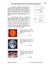 The Oscillation Period of Gaseous Spheres Worksheet