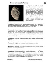 From Asteroids to Planets Worksheet