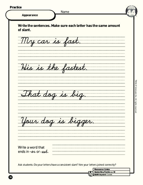 Cursive Writing Practice Worksheet for 3rd - 4th Grade ...
