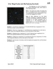 Star Magnitudes and Multiplying Decimals Worksheet