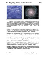 The Milky Way: A Mere Cloud in the Cosmos Worksheet