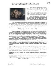 Extracting Oxygen from Moon Rocks Worksheet