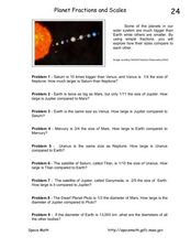 Planet Fractions and Scales Worksheet