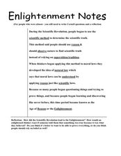 Enlightenment Notes Lesson Plan