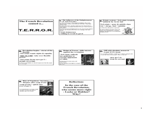 The French Revolution caused a...  T.E.R.R.O.R. Lesson Plan