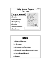 Holy Roman Empire c. 1500 Fact card Lesson Plan