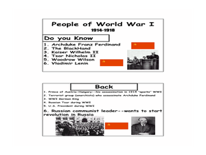 People of World War I Lesson Plan